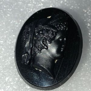 Antique Victorian Mourning black glass pin as is